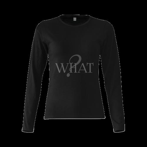 What? Black Sunny Women's T-shirt (long-sleeve) (Model T07)