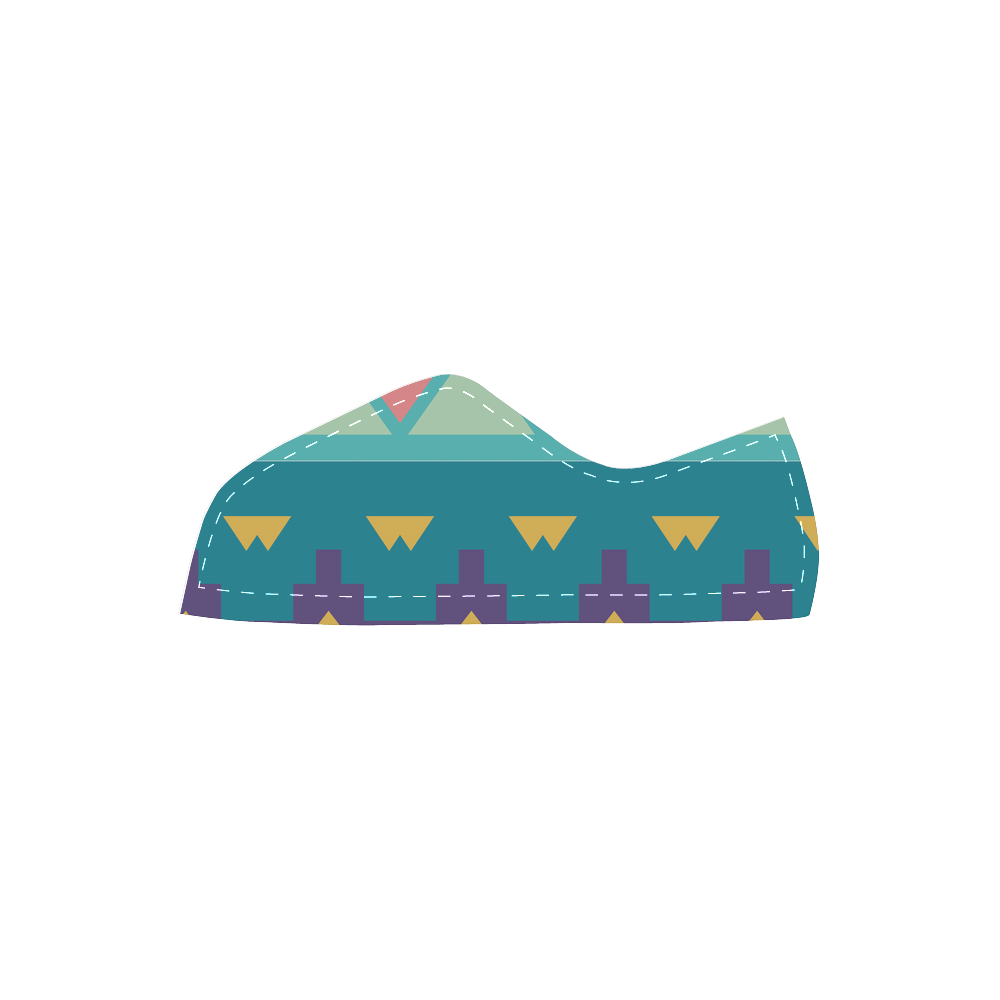 Pastel tribal design Velcro Canvas Kid's Shoes (Model 008)