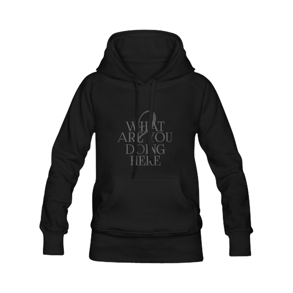 What are you doing here? Black | Women's Classic Hoodies (Model H07)