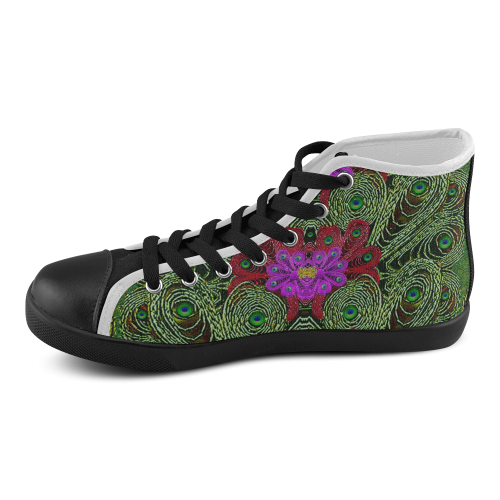 Metal Peacock In paradise Land Men's High Top Canvas Shoes (Model 002)