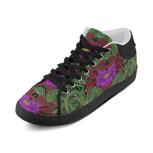 Metal Peacock In paradise Land Women's Chukka Canvas Shoes (Model 003)
