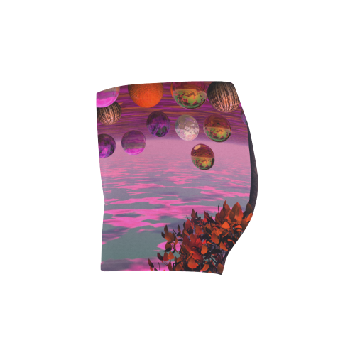 Bittersweet Opinion, Abstract Raspberry Maple Tree Briseis Skinny Shorts (Model L04)