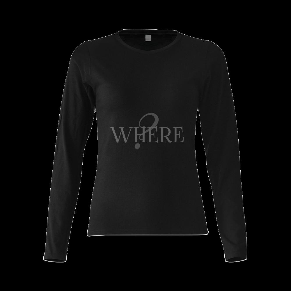 Where? Black Sunny Women's T-shirt (long-sleeve) (Model T07)