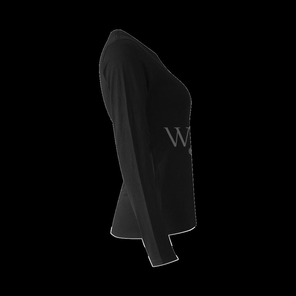 When? Black Sunny Women's T-shirt (long-sleeve) (Model T07)