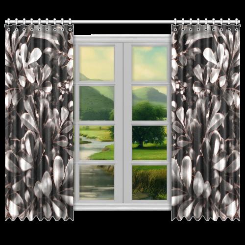 "Foliage #1 Red Edge - Jera Nour Window Curtain 50""x84""(Two Piece)"