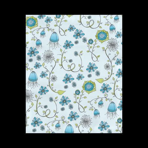 "blue fantasy doodle flower pattern Duvet Cover 86""x70"" ( All-over-print)"