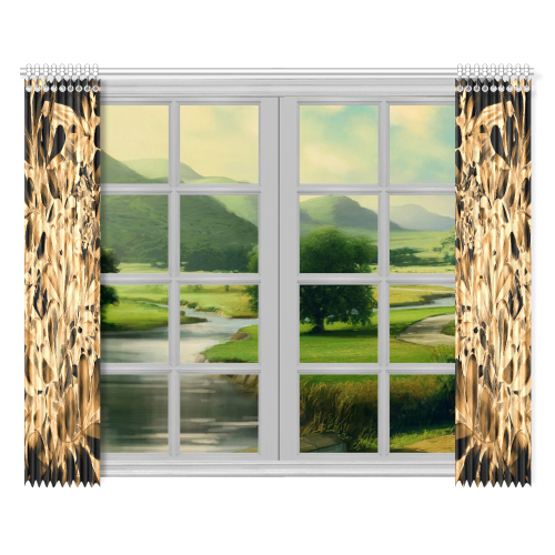 "Foliage #2 Gold - Jera Nour Window Curtain 52""x84""(Two Pieces)"