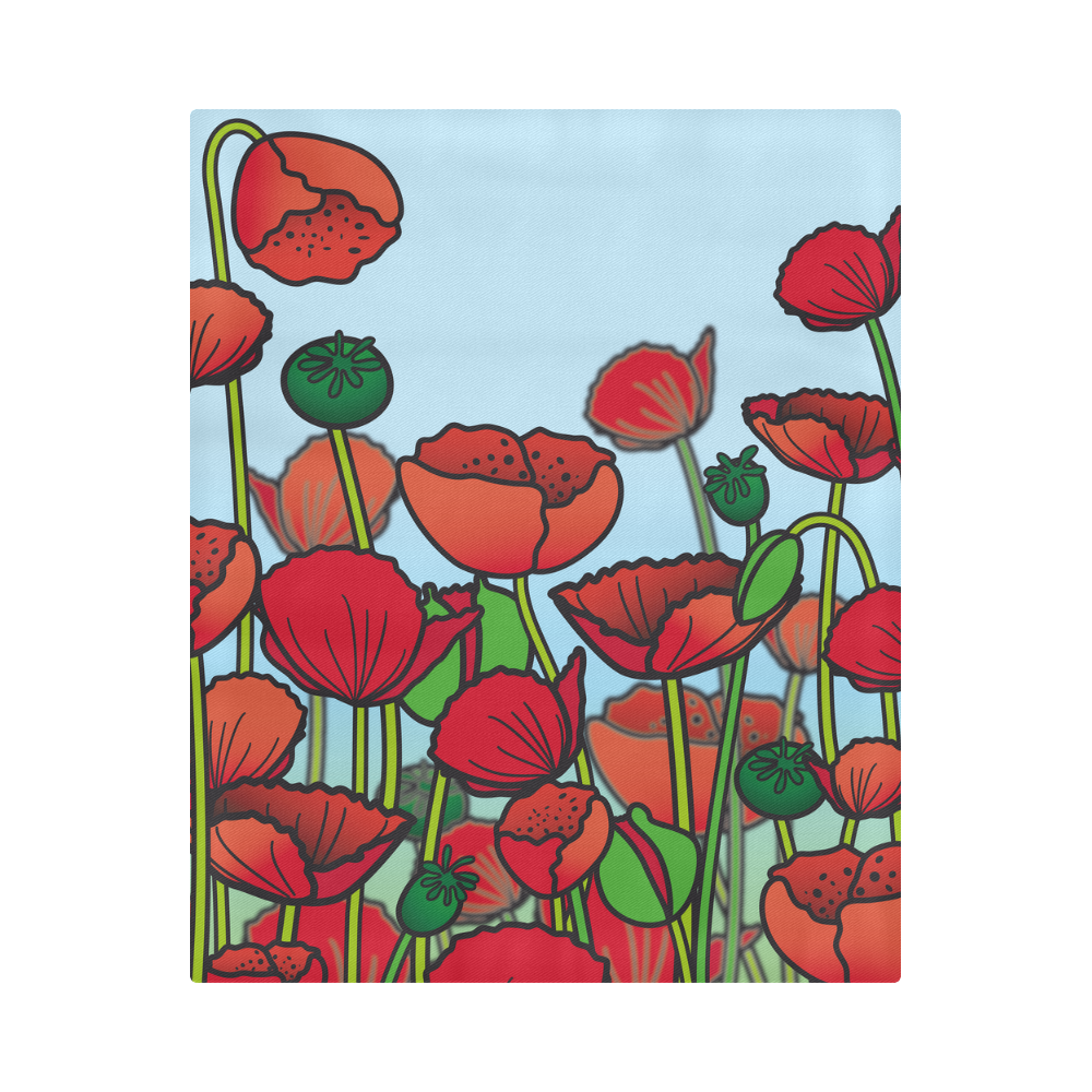 """field of poppy flowers red floral Duvet Cover 86""""x70"""" ( All-over-print)"""
