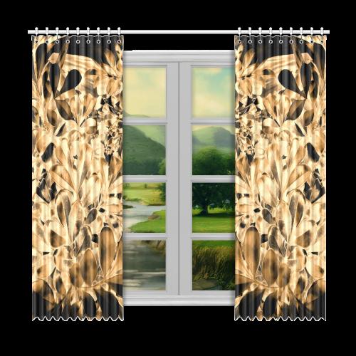 "Foliage #2 Gold - Jera Nour Window Curtain 50""x96""(Two Piece)"