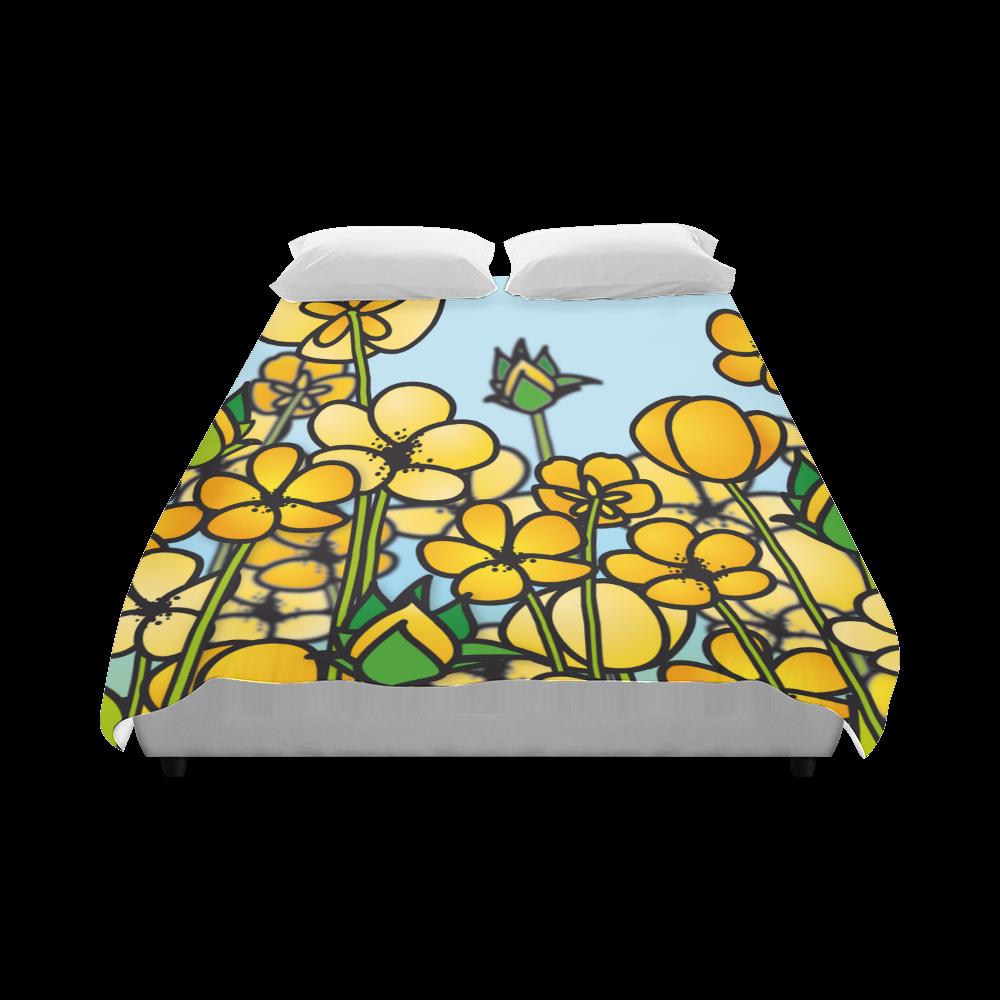 """buttercup flower field yellow floral arrangement Duvet Cover 86""""x70"""" ( All-over-print)"""