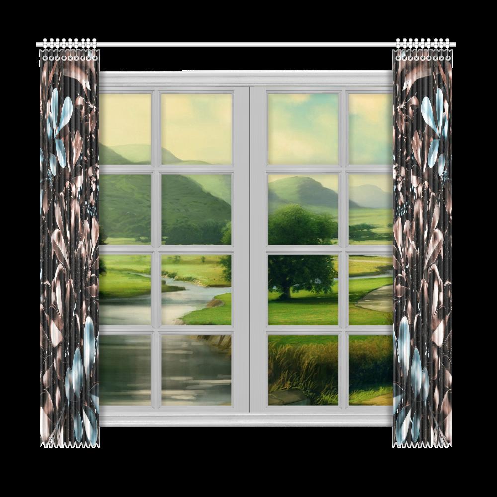 """Foliage-5 Window Curtain 50""""x96""""(Two Piece)"""