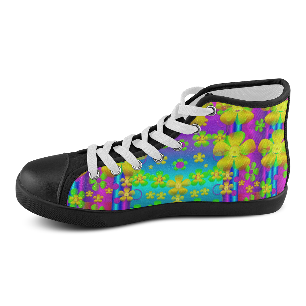 Outside the curtain it is peace florals and love Men's High Top Canvas Shoes (Model 002)