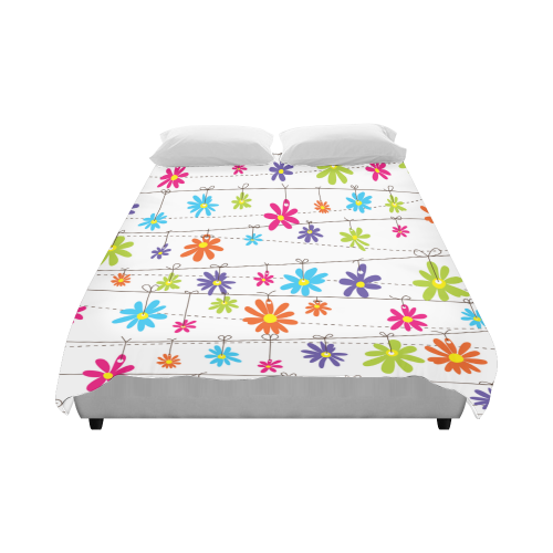 "colorful flowers hanging on lines Duvet Cover 86""x70"" ( All-over-print)"