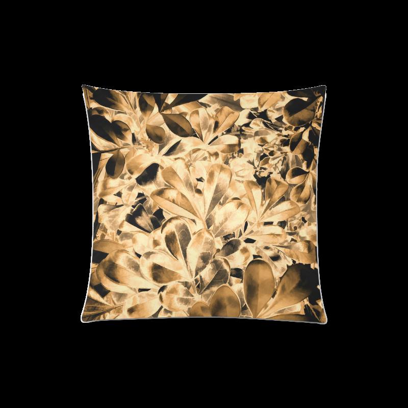 "Foliage #2 Gold - Jera Nour Custom Zippered Pillow Case 20""x20""(Twin Sides)"