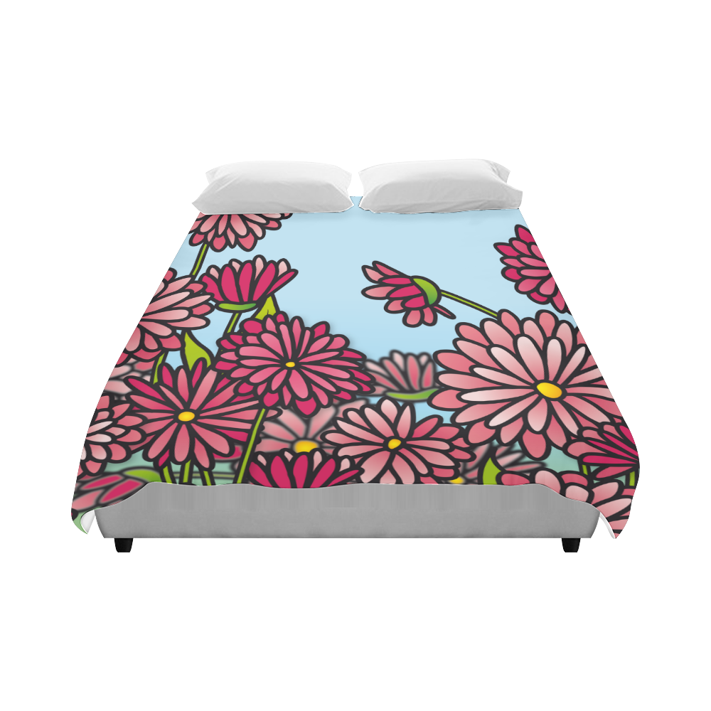 "chrysantenum flower field pink floral Duvet Cover 86""x70"" ( All-over-print)"