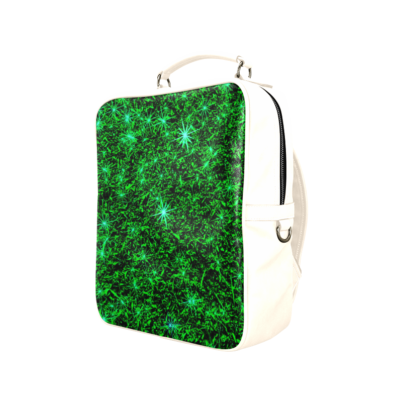 Sparkling Green - Antique White - Jera Nour | Square Backpack (Model 1618)