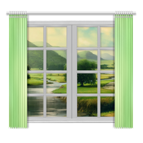 """Mandy Green - green abstract Window Curtain 52""""x96""""(Two Piece)"""