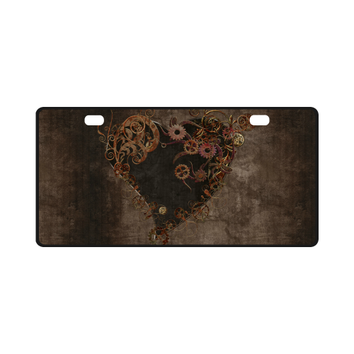 A decorated Steampunk Heart in brown License Plate
