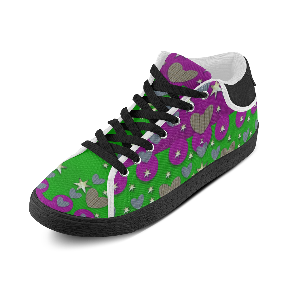 The Brightest sparkling stars Is Love Men's Chukka Canvas Shoes (Model 003)
