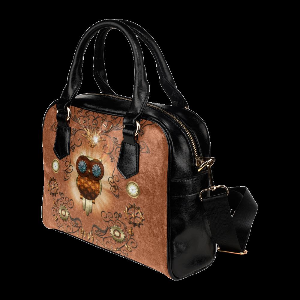 Steampunk,  cute owl Shoulder Handbag (Model 1634)