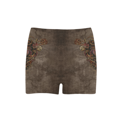 A decorated Steampunk Heart in brown Briseis Skinny Shorts (Model L04)