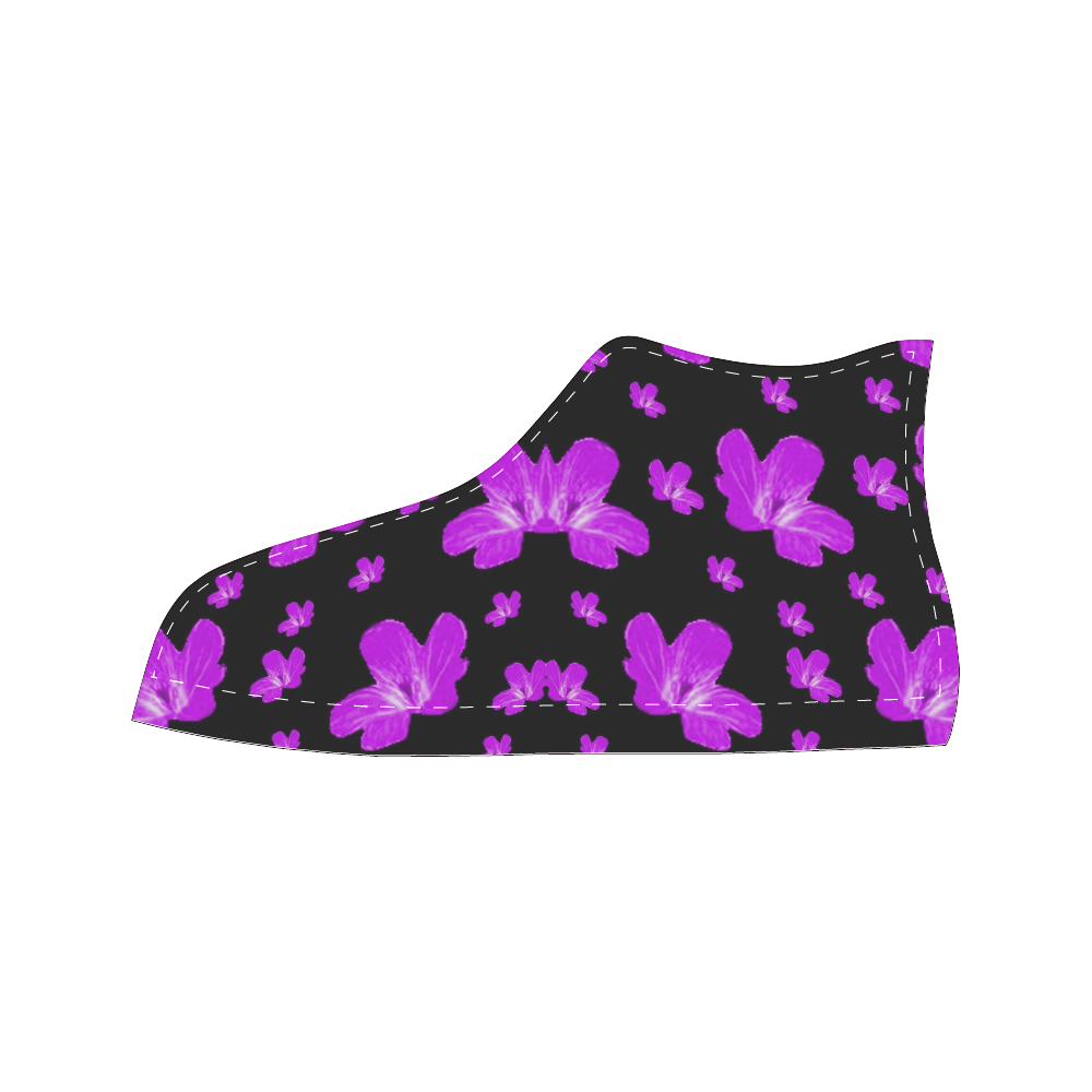 Pretty flowers in purple Women's Classic High Top Canvas Shoes (Model 017)