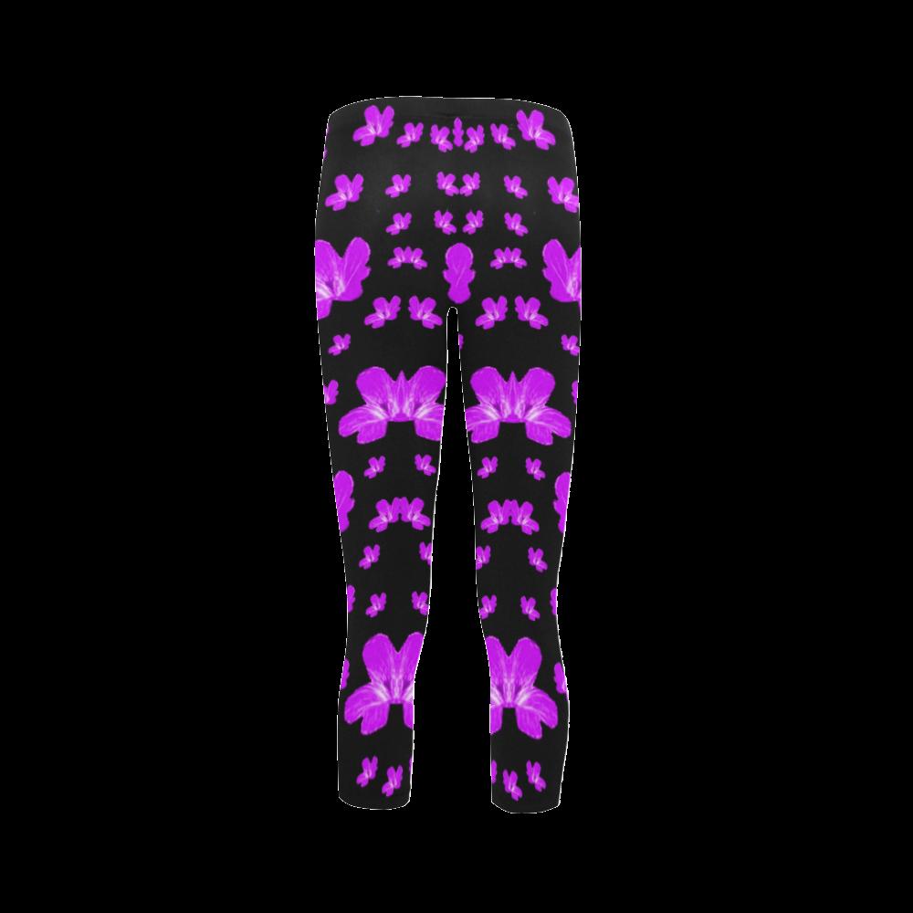 Pretty flowers in purple Capri Legging (Model L02)