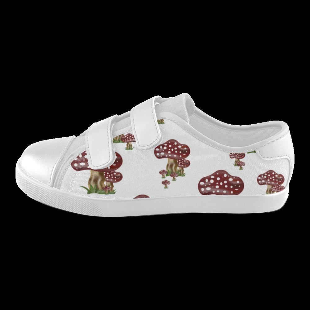 Mushrooms Velcro Canvas Kid's Shoes (Model 008)