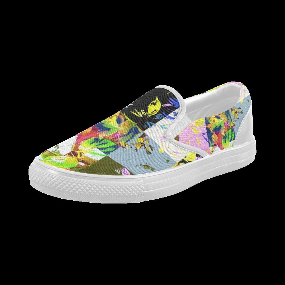 Foliage Patchwork #3 - Jera Nour Women's Slip-on Canvas Shoes (Model 019)
