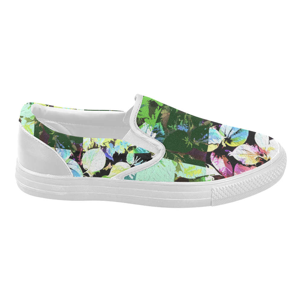 Foliage Patchwork #2 - Jera Nour Women's Slip-on Canvas Shoes (Model 019)