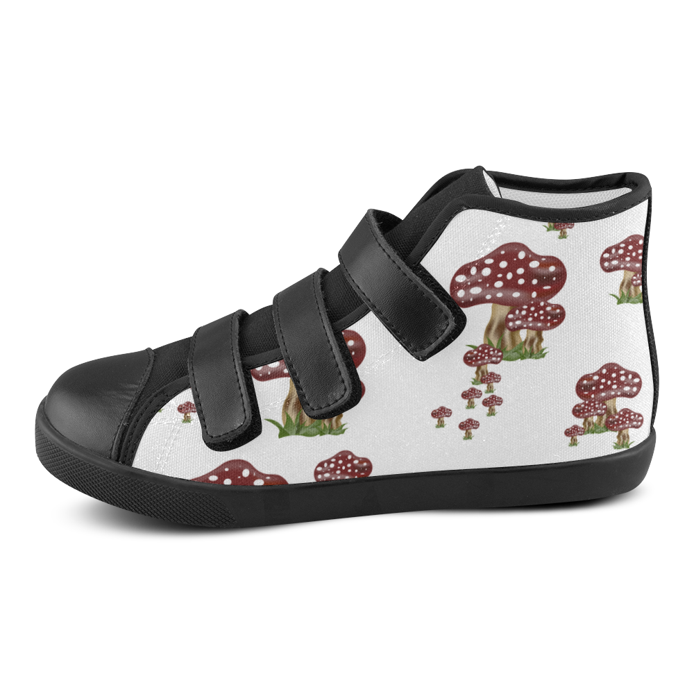 Mushrooms Velcro High Top Canvas Kid's Shoes (Model 015)