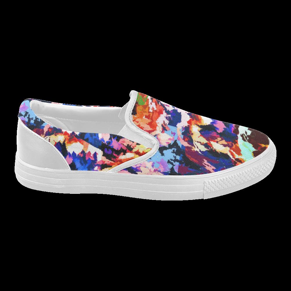 Foliage Patchwork #7 - Jera Nour Women's Slip-on Canvas Shoes (Model 019)