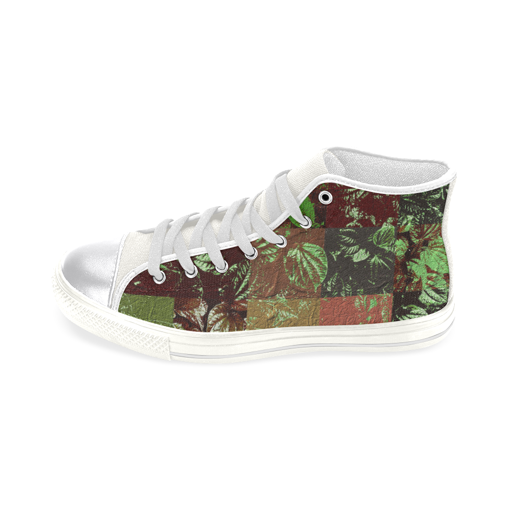 Foliage Patchwork #4 - Jera Nour Women's Classic High Top Canvas Shoes (Model 017)