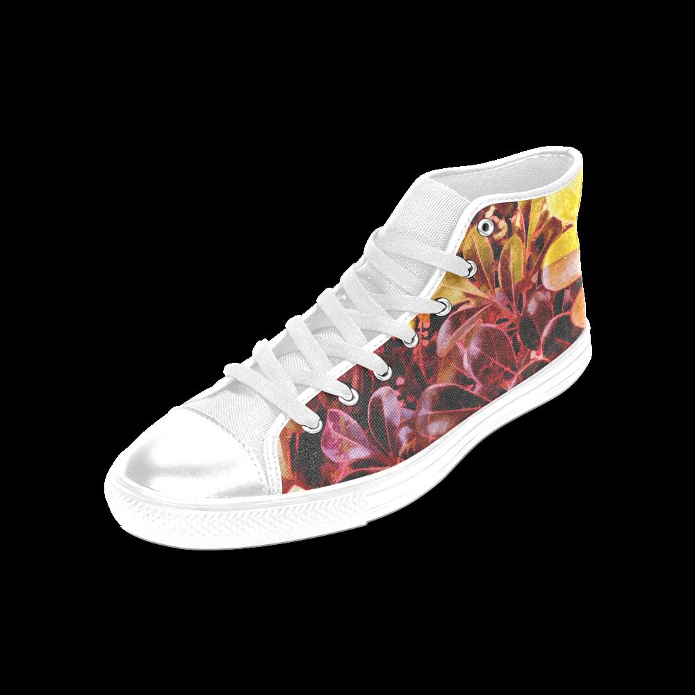 Foliage Patchwork #11 - Jera Nour Women's Classic High Top Canvas Shoes (Model 017)