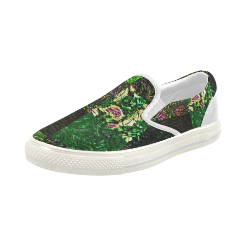 Foliage Patchwork #1 - Jera Nour Women's Slip-on Canvas Shoes (Model 019)