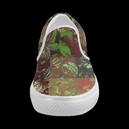 Foliage Patchwork #4 - Jera Nour Women's Slip-on Canvas Shoes (Model 019)