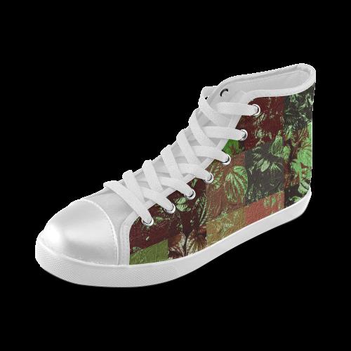 Foliage Patchwork #4 - Jera Nour Women's High Top Canvas Shoes (Model 002)