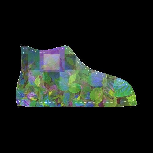 Foliage Patchwork #10 - Jera Nour High Top Canvas Kid's Shoes (Model 002)