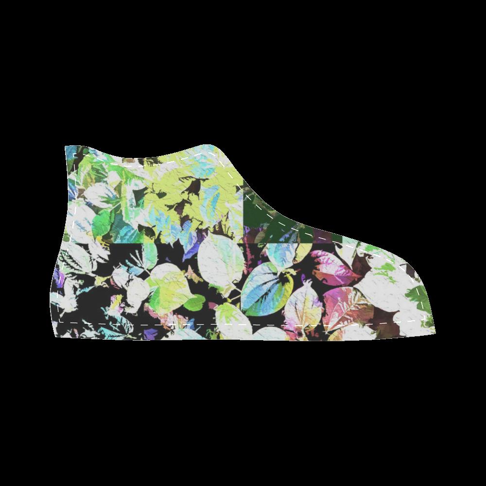Foliage Patchwork #2 - Jera Nour High Top Canvas Kid's Shoes (Model 002)