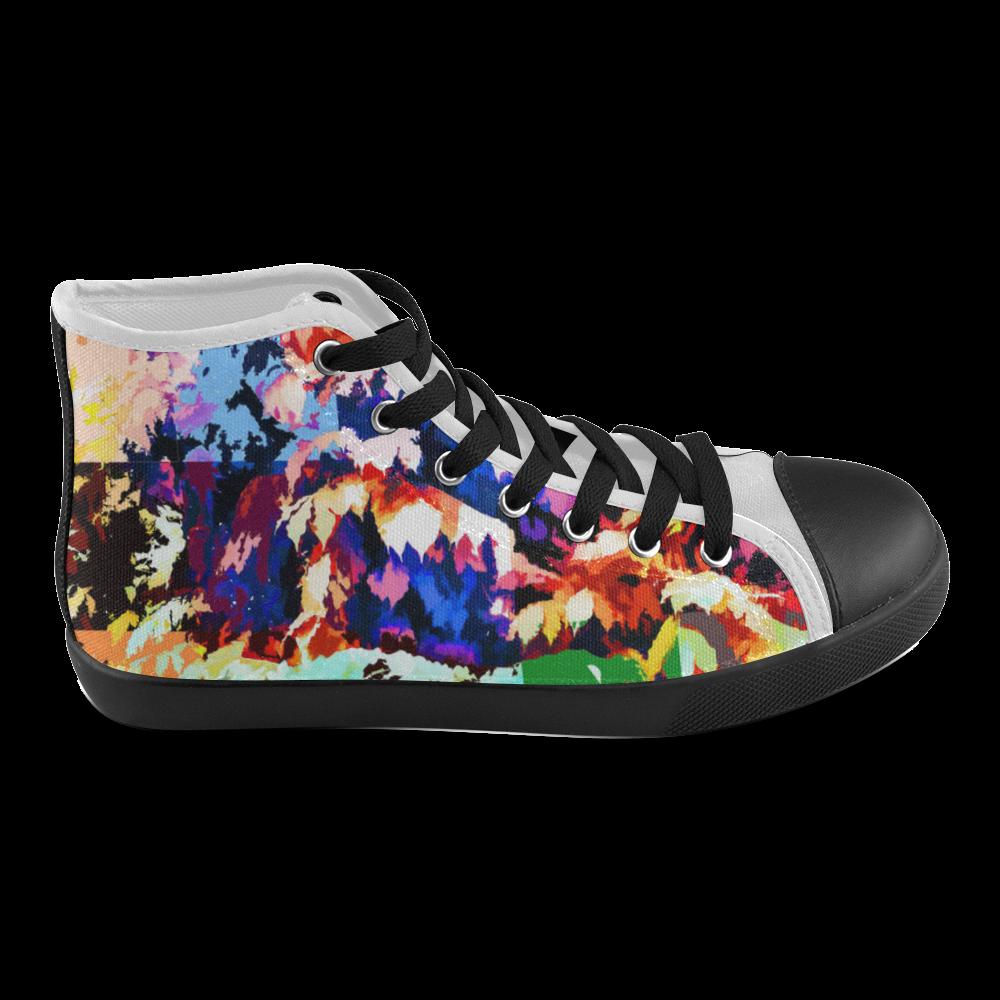 Foliage Patchwork #7 - Jera Nour Men's High Top Canvas Shoes (Model 002)