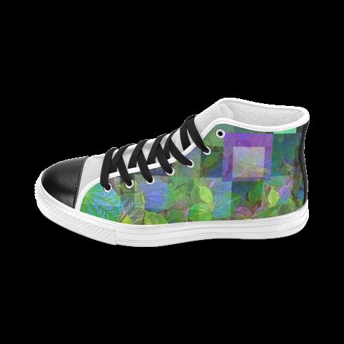 Foliage Patchwork #10 - Jera Nour Men's Classic High Top Canvas Shoes (Model 017)