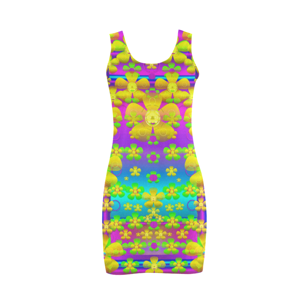 Outside the curtain it is peace florals and love Medea Vest Dress (Model D06)