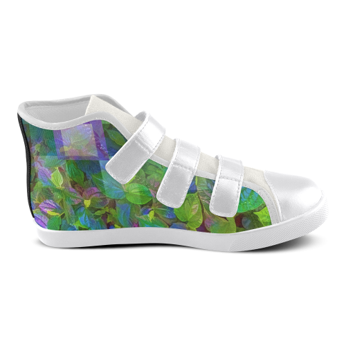 Foliage Patchwork #10 - Jera Nour Velcro High Top Canvas Kid's Shoes (Model 015)
