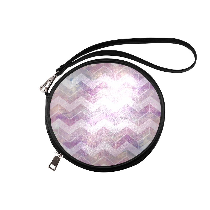 Chevron with watercolors Round Makeup Bag (Model 1625)