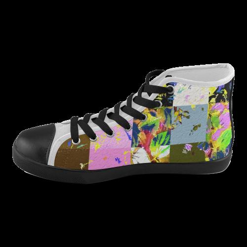 Foliage Patchwork #3 - Jera Nour Men's High Top Canvas Shoes (Model 002)