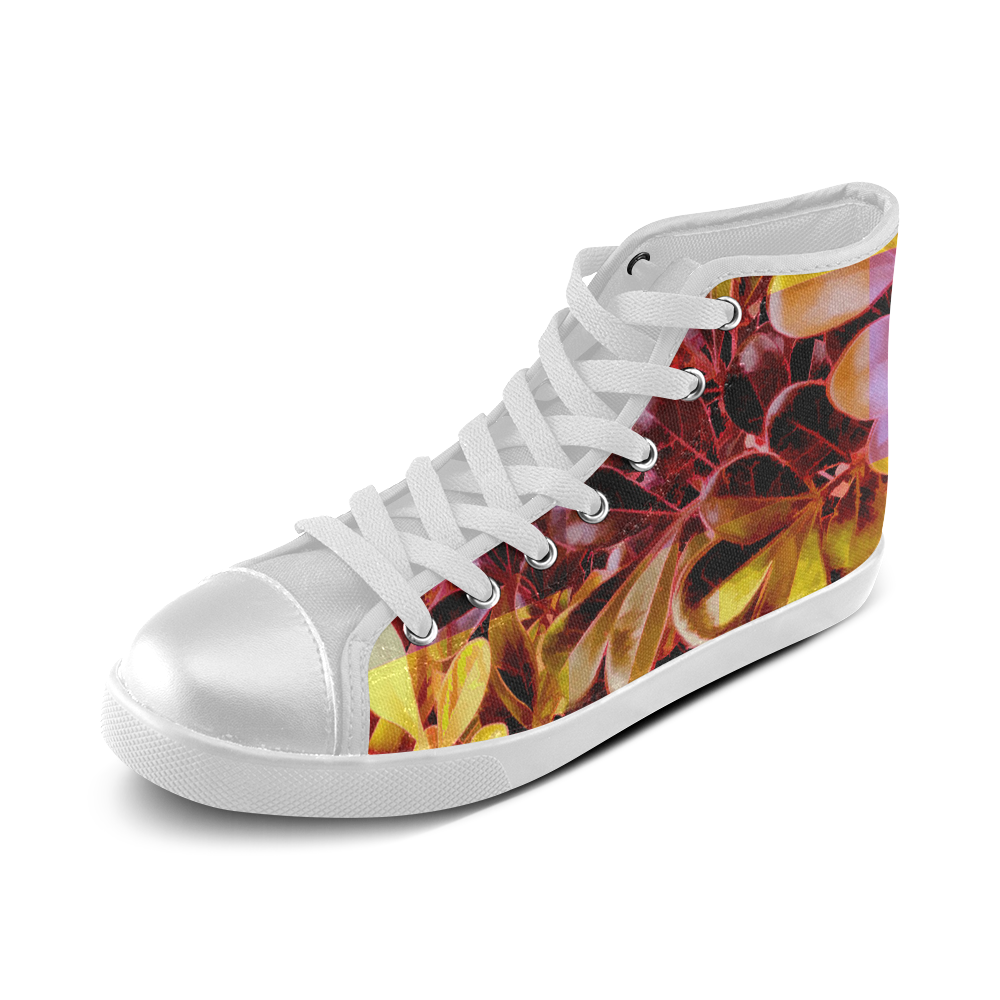 Foliage Patchwork #11 - Jera Nour Women's High Top Canvas Shoes (Model 002)