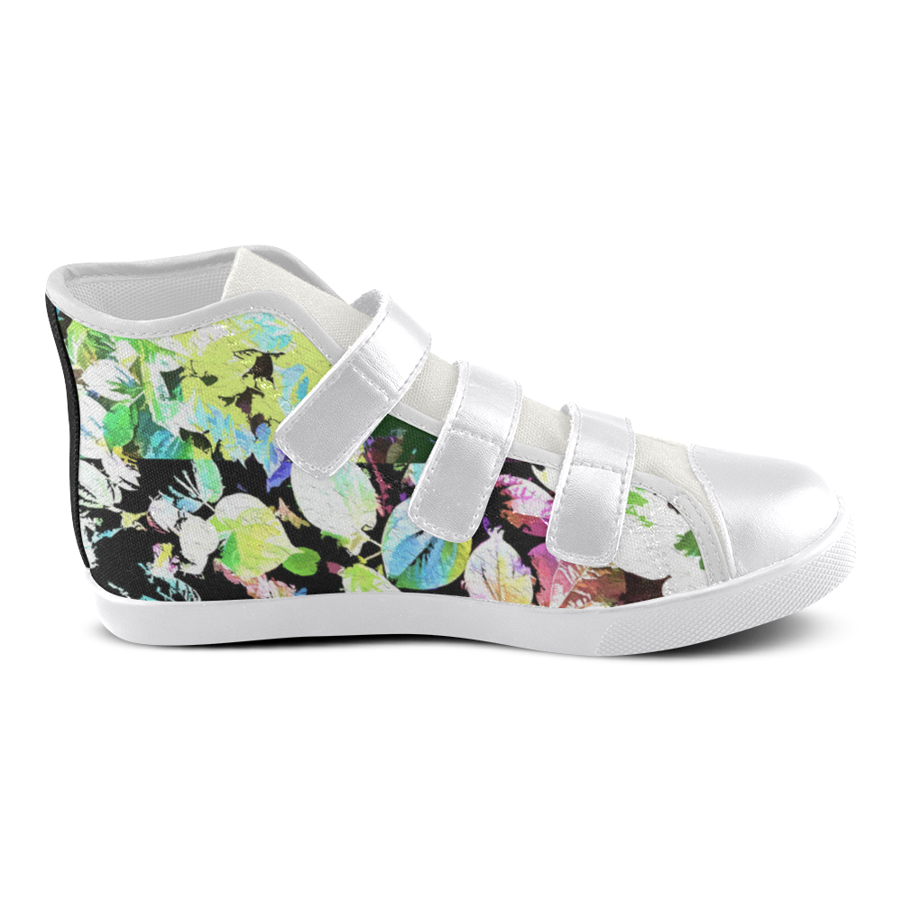 Foliage Patchwork #2 - Jera Nour Velcro High Top Canvas Kid's Shoes (Model 015)