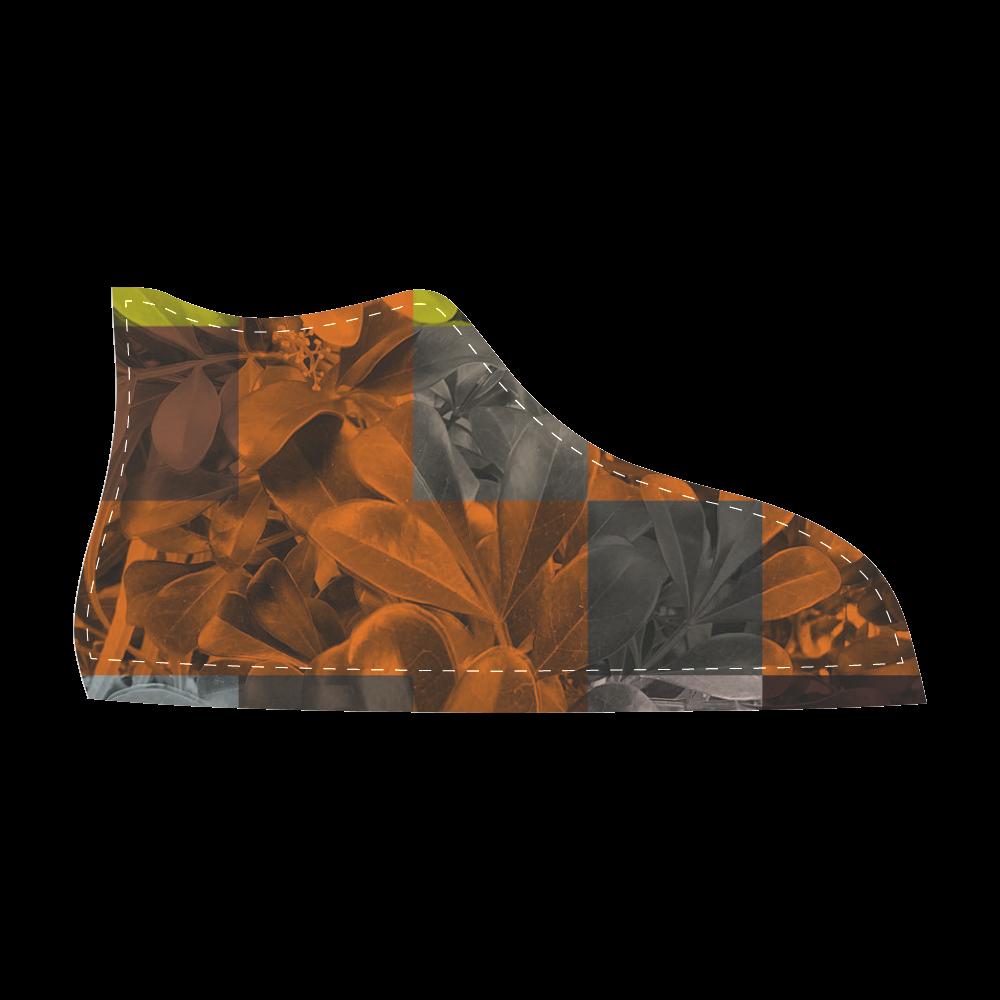Foliage Patchwork #9 - Jera Nour Men's High Top Canvas Shoes (Model 002)