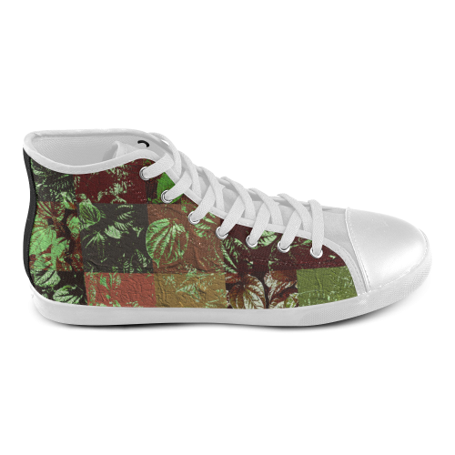 Foliage Patchwork #4 - Jera Nour High Top Canvas Kid's Shoes (Model 002)