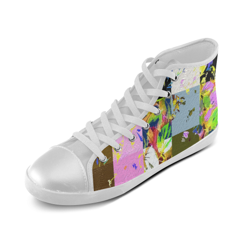 Foliage Patchwork #3 - Jera Nour High Top Canvas Kid's Shoes (Model 002)